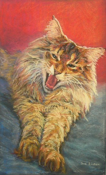 Pastel portrait of a cat yawning