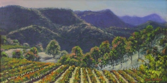 A landscape painting of a Hunter Valley vineyard