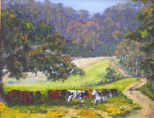 A painting of a cows resting under a tree