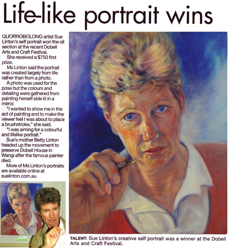 The article from the newspaper about my art win