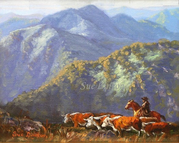 A painting of a cattle muster in the Australian alps