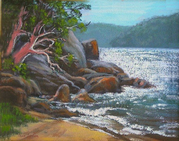 A painting of a beach on the Hawkesbury river NSW