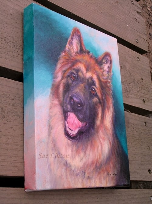 A photo of the portrait on it's gallery wrap canvas