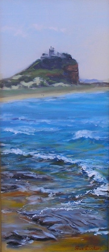 A painting of Nobby's lighthouse and beach early in the morning