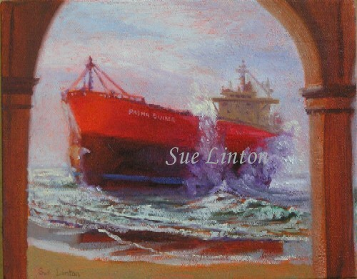 A painting of the tanker Pasha Bulka aground on Nobby's beach Newcastle