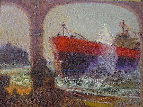 A painting created onsite of the Pasha Bulka aground on nobby's beach 2007