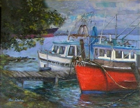 An Oil painting of fishing trawlers