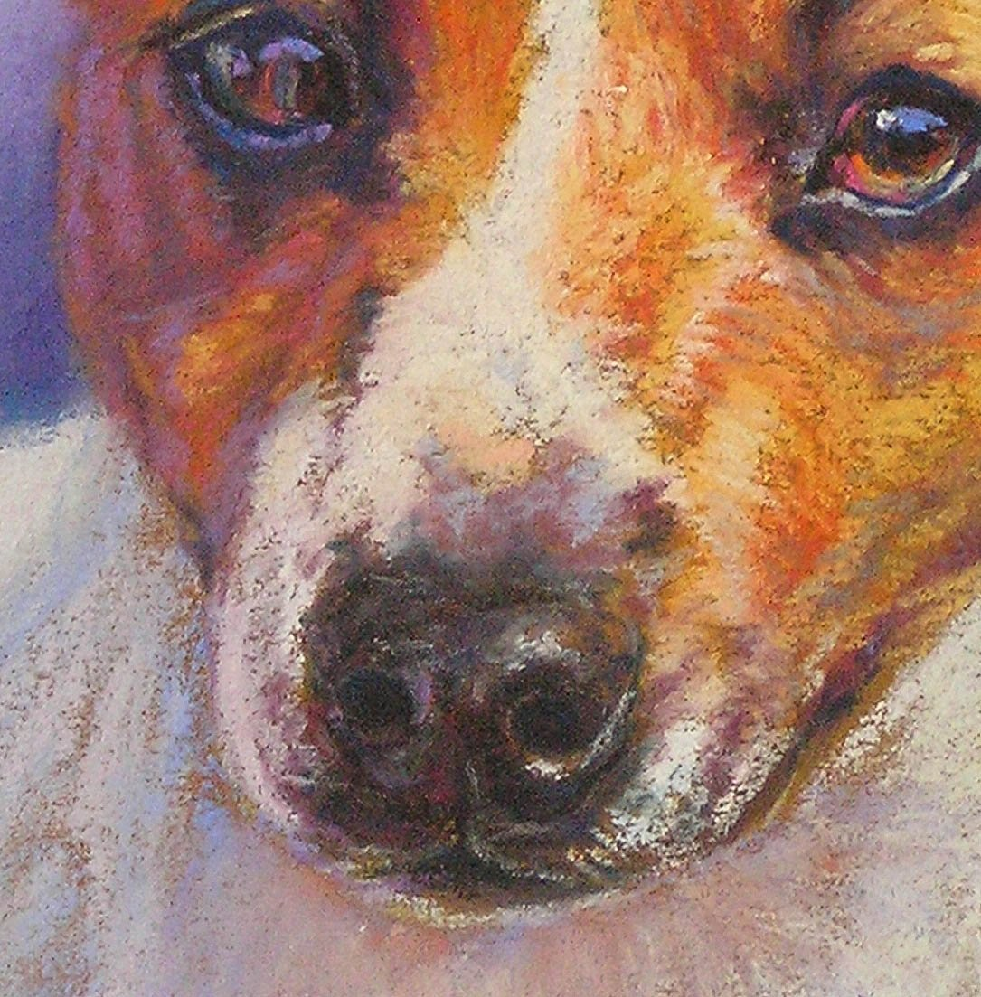 detail of a pastel pet portrait