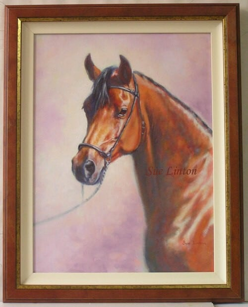 A framed Oil pet portrait of a horse