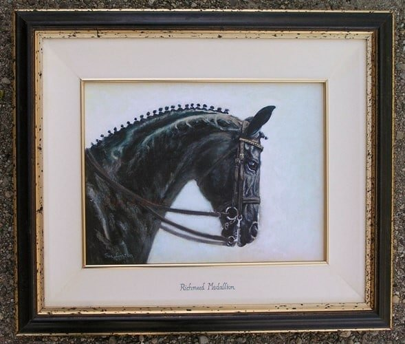 An oil portrait of a dressage stallion