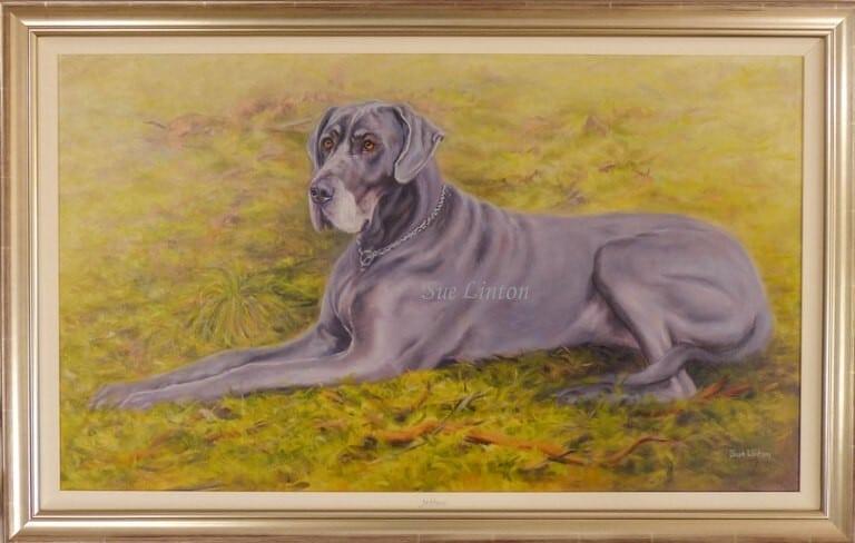 A large Oil portrait of a Great Dane