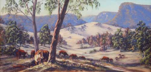 A painting of cows and mountains