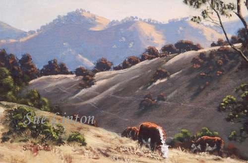 Landscape painting of cattle at Nundle