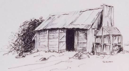A pen sketch of an Australian Cattleman's hut