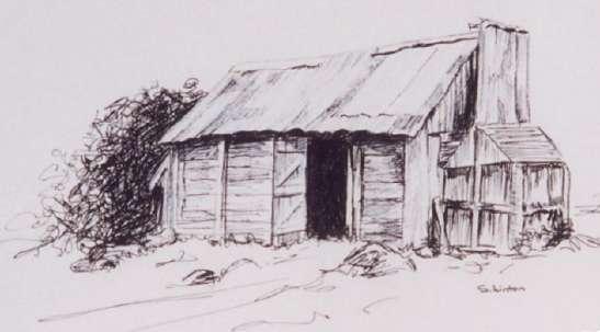 A pen sketch of an Australian Cattleman's hut