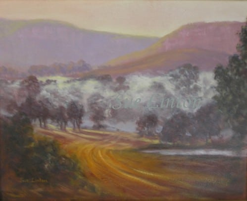 A painting of early morning mist in a valley
