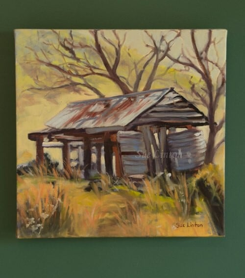 An Australian landscape painting of an old shed