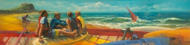 A painting of sailboarders relaxing on Nobby's beach Newcastle in the 80's