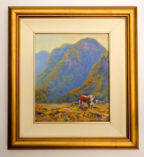 The painting framed