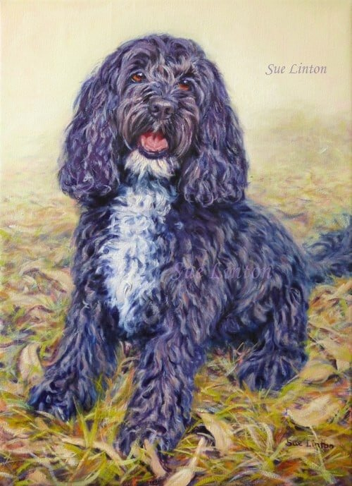 An Oil portrait of a dog painted from photos