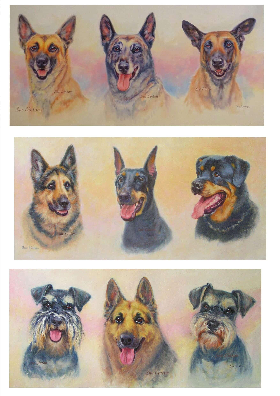 The three portraits I've created of Carol's dogs.