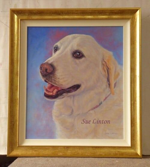 A custom framed dog portrait
