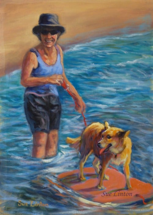 A painting of a woman and her dog