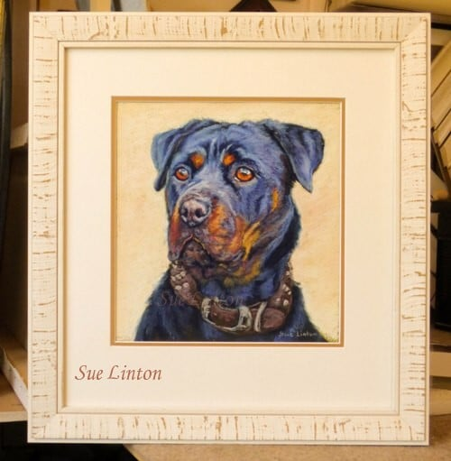 A dog painting of a pet Rottweiller dog