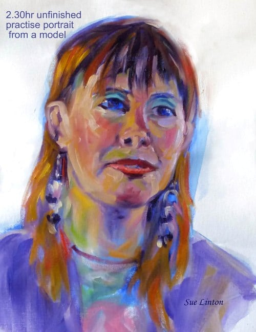 A 2.30hr unfinished practise portrait from a model in a colourful contemporary style