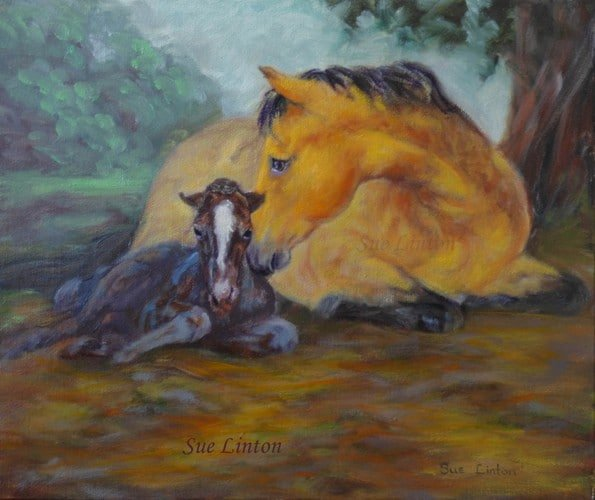 A painting of a mare with her newborn foal