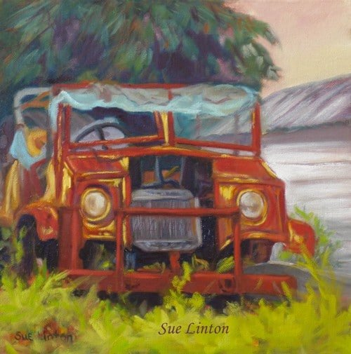 A painting of a rusting old car