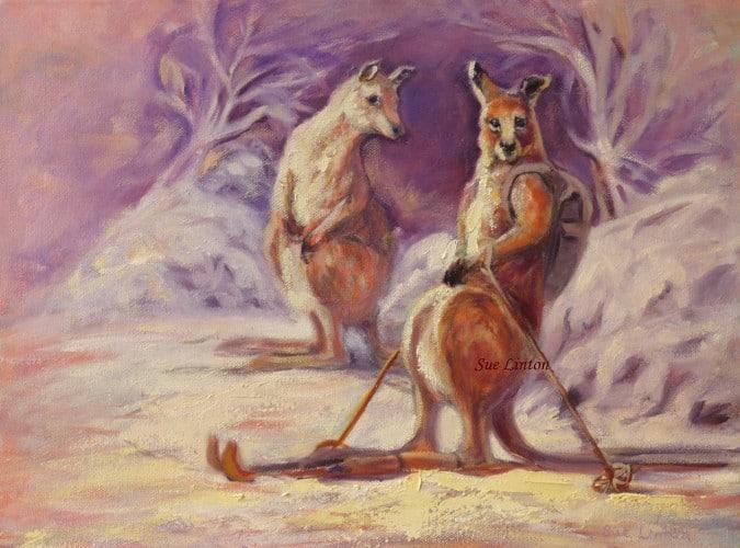 A skiing kangaroo!