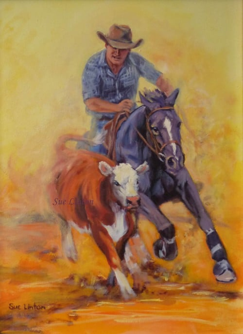 A colurful Oil painting of a campdraft