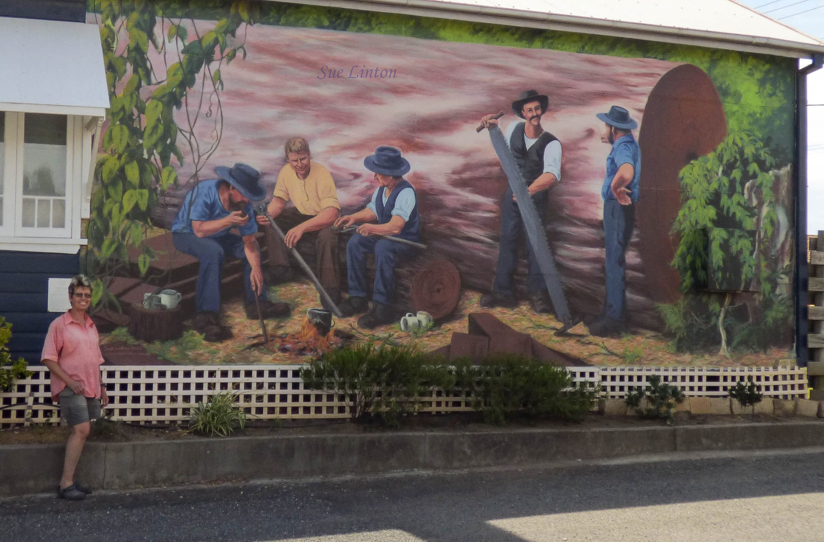 The mural with me to show the size.