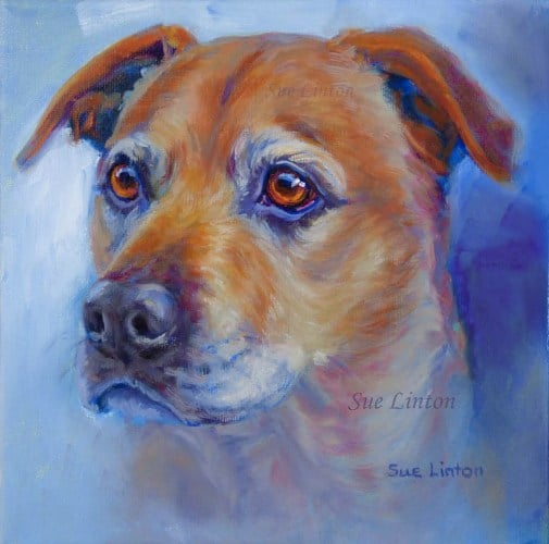 A painting of a Bull mastiff Dog