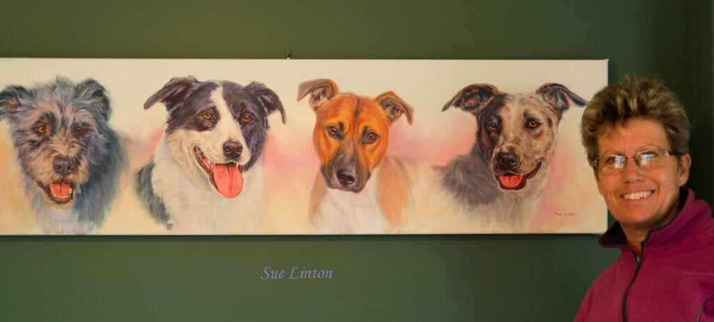 A painting of 4 dogs .