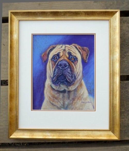 A framed pet portrait of a Bull Mastiff dog