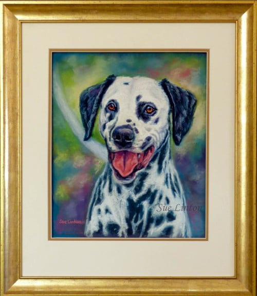 The framed dog painting of a Dalmatian