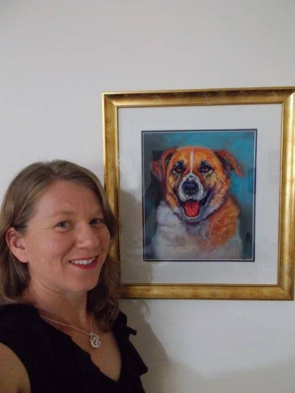 Holly with Bruno on the wall