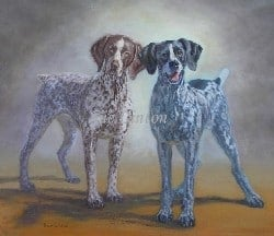 A portrait of 2 hounds