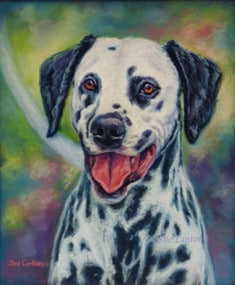 A pet portrait painting of a Dalmatian dog