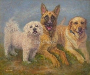 A dog painting of 3 pet dogs