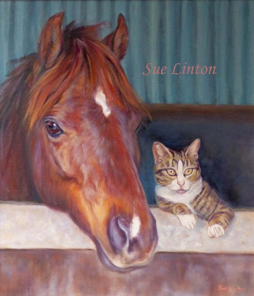 An Oil portrait of a cute riding pony and a cat looking over the stable door