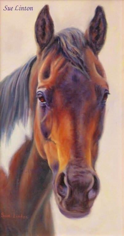 An oil portrait of a Paint horse