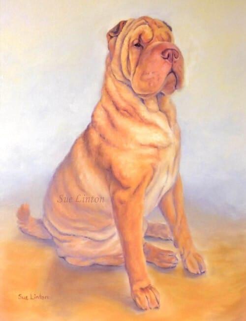 An Oil dog painting of a Shar Pei dog