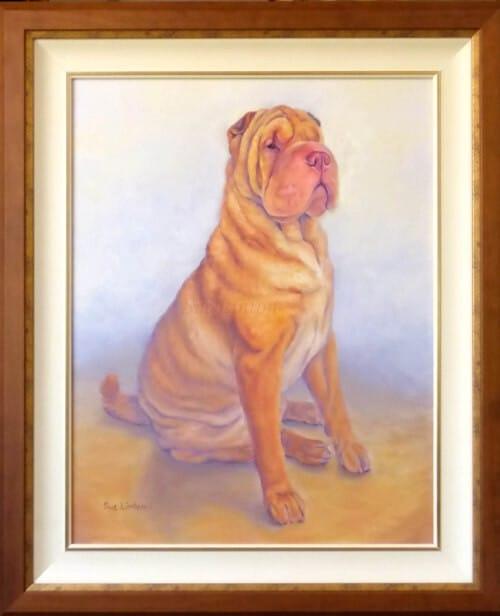 The framed Oil dog pet portrait of a Shar Pei
