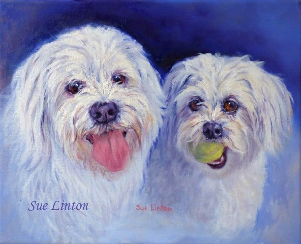 An oil portrait of 2 dogs placed together from separate photos