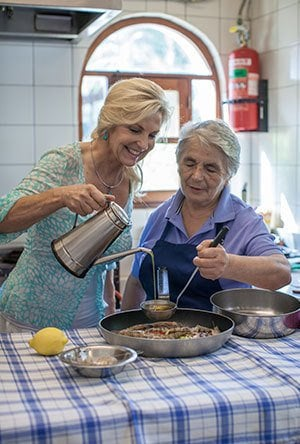 Cooking scene from people and food of the Mediterranean