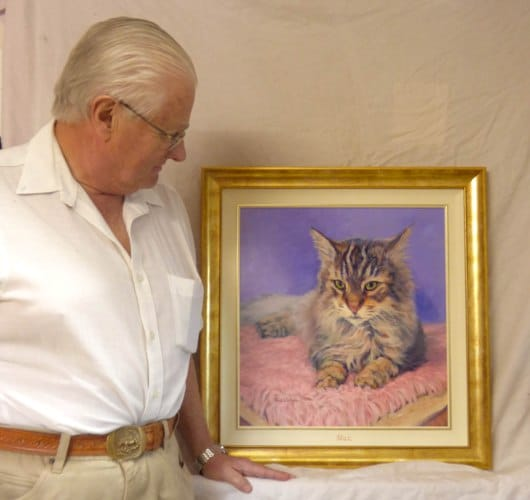 Client with the framed portrait