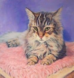 An Oil Memorial pet portrait of a Maine coon Cat